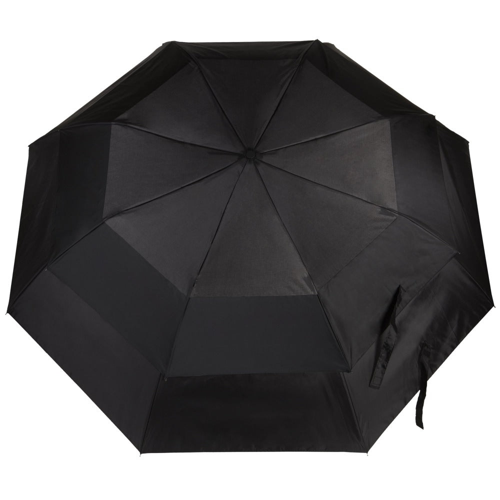 Blue Line Golf Size Auto Vented Canopy Umbrella in Black Open Top View