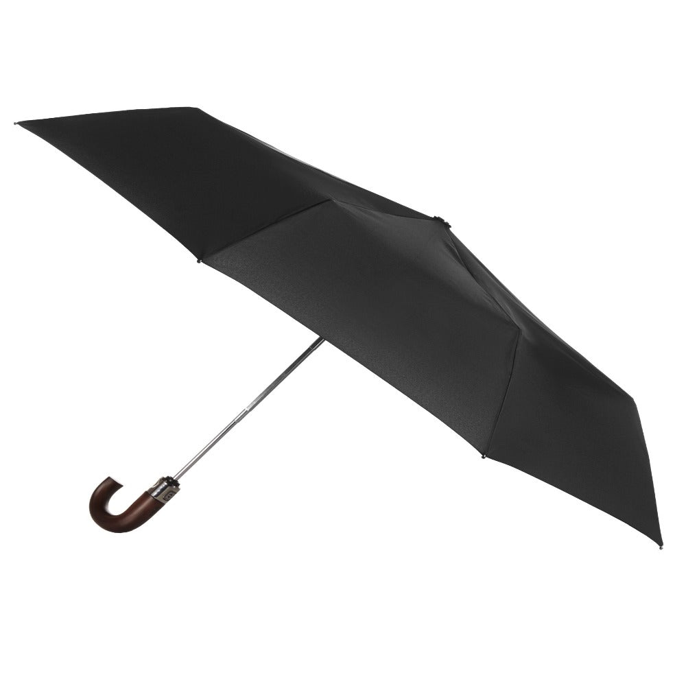 Blue Line Auto Open Large Stick Umbrella NeverWet in Black Open Side Profile