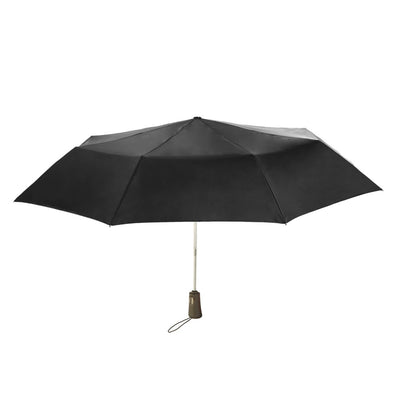 Titan Super Strong Large Folding Umbrella in Black Open Straight On View