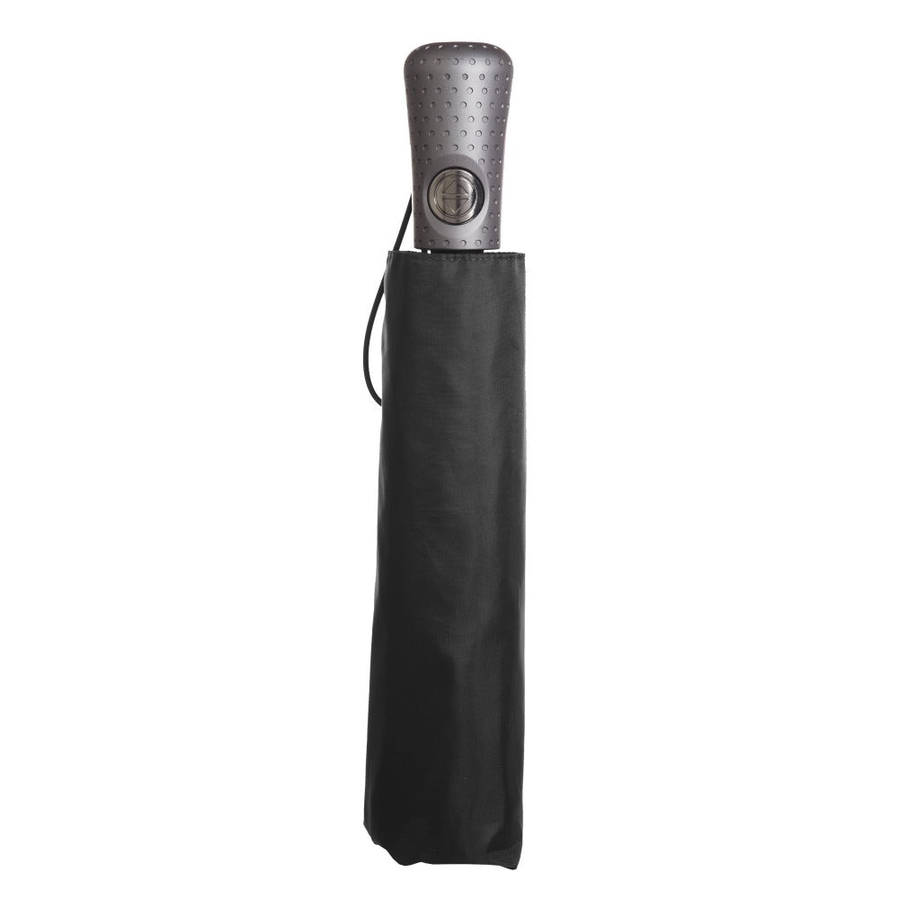 Titan Super Strong Large Folding Umbrella in Black Closed in Carrying Case