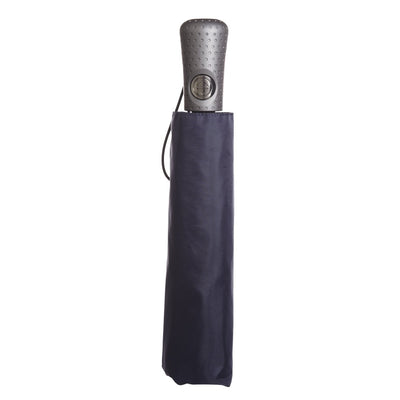 Titan Super Strong Large Folding Umbrella in Navy Closed in Carrying Case
