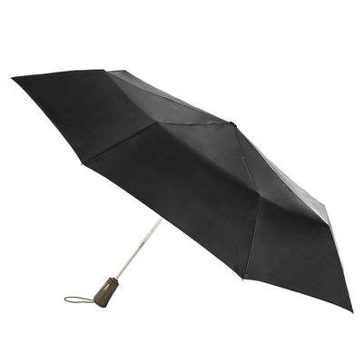 Titan Super Strong Large Folding Umbrella in Black Open Side Profile
