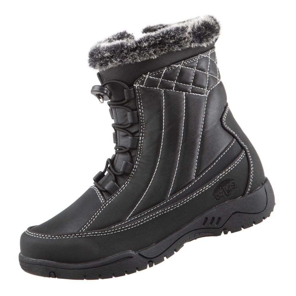 Women's Eve Winter Boots in Black Left Angled View