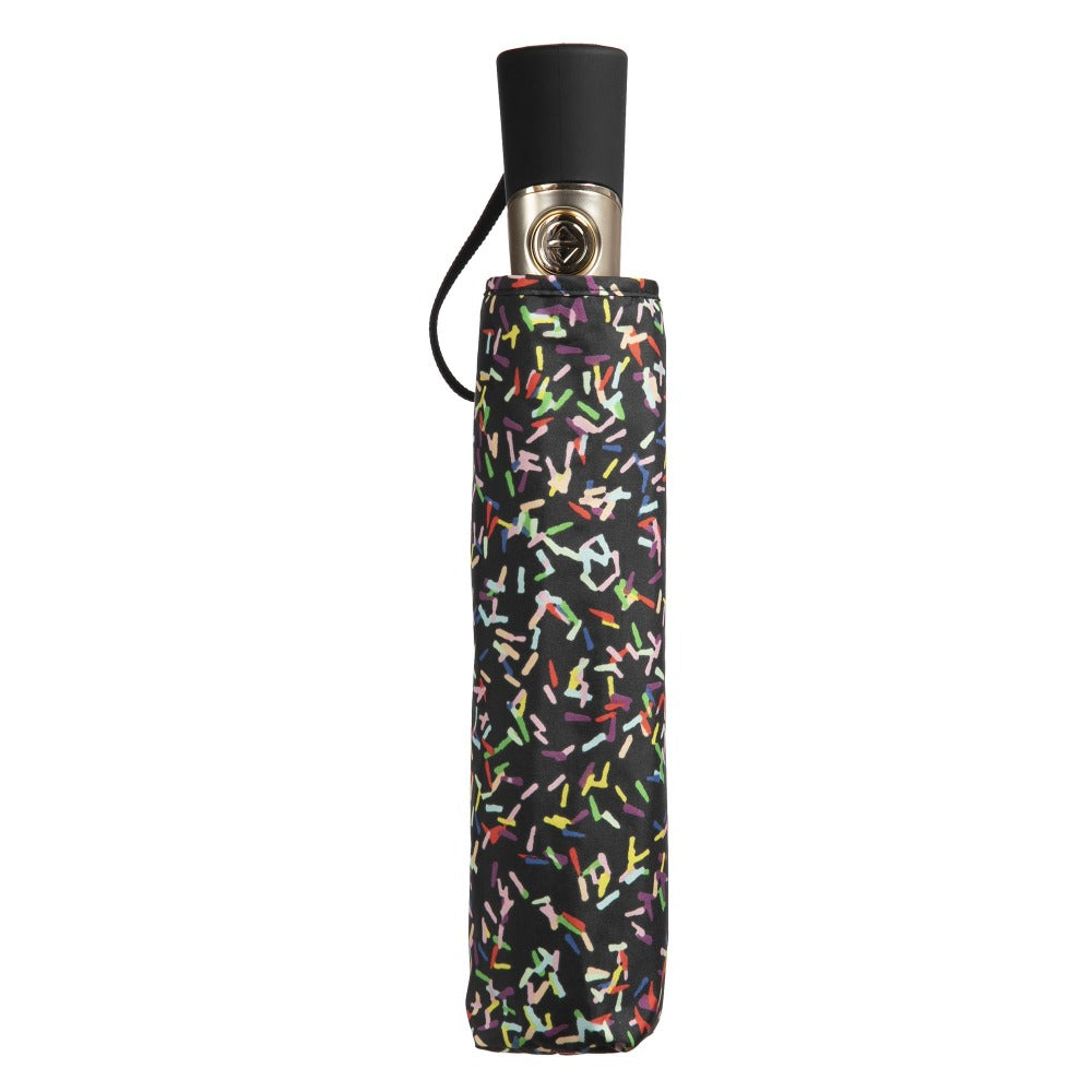 50th Anniversary Auto Open Close Umbrella in Sprinkles Closed in Carrying Case