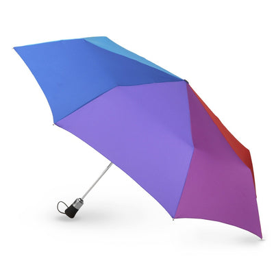Auto Open/Close Golf Size Umbrella in Rainbow Open Side Profile