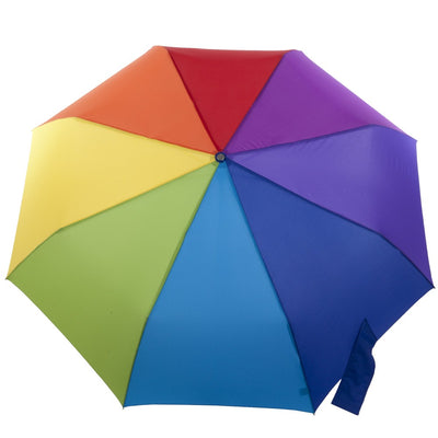 Auto Open/Close Golf Size Umbrella in Rainbow Open Top View