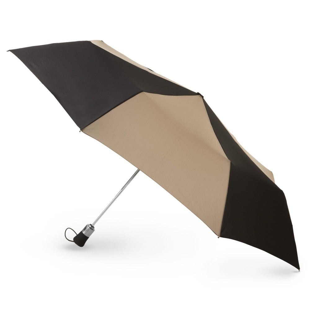 Auto Open/Close Golf Size Umbrella in Black/Tan Open Side Profile