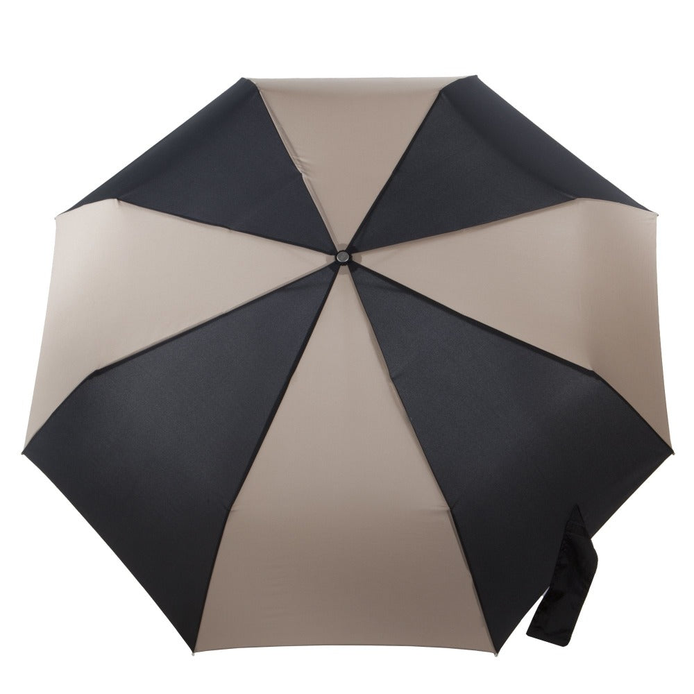 Auto Open/Close Golf Size Umbrella in Black/Tan Open Top View