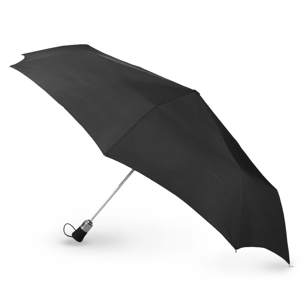 Auto Open/Close Golf Size Umbrella in Black Open Side Profile