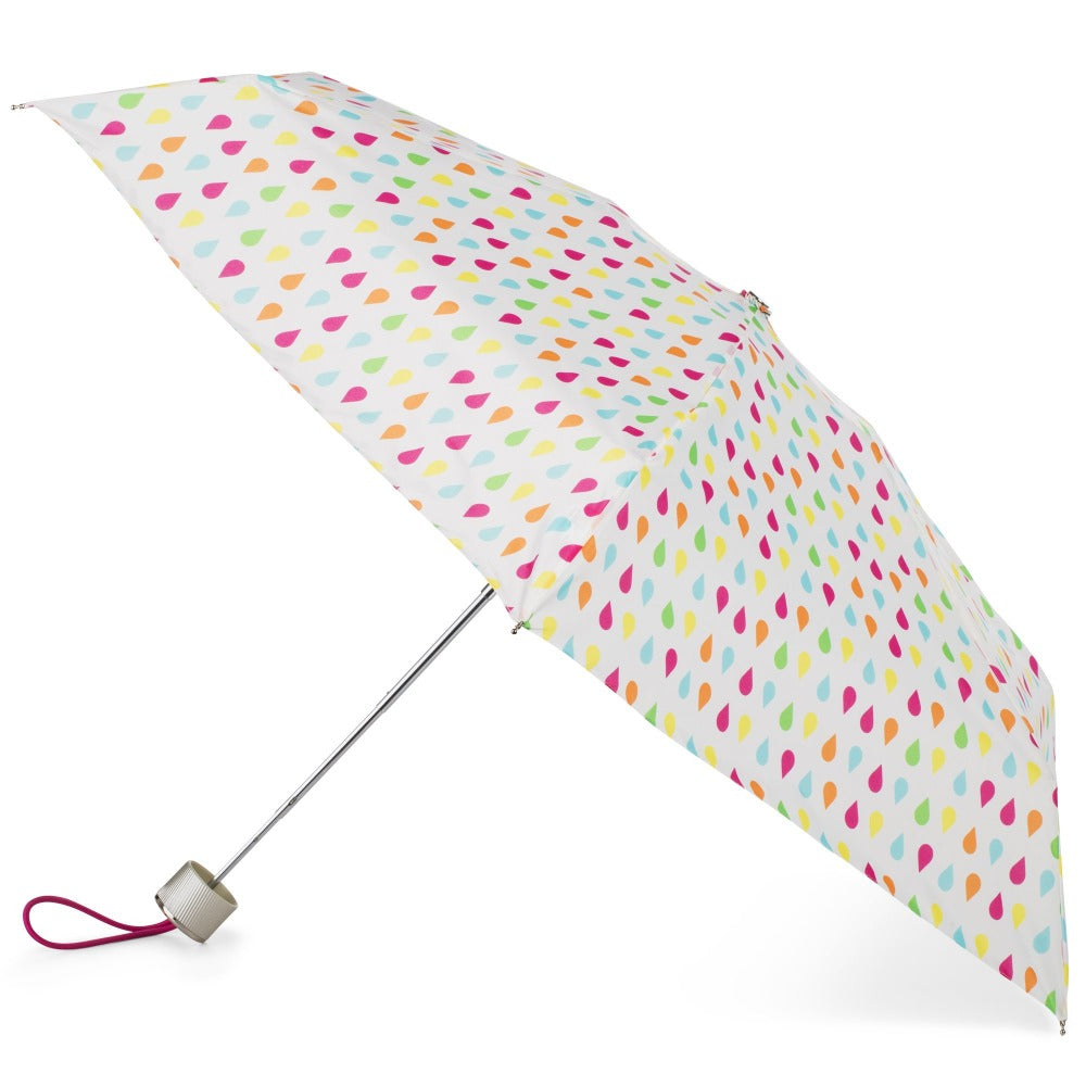 Manual Umbrella with NeverWet® in White Rain Open Side Profile