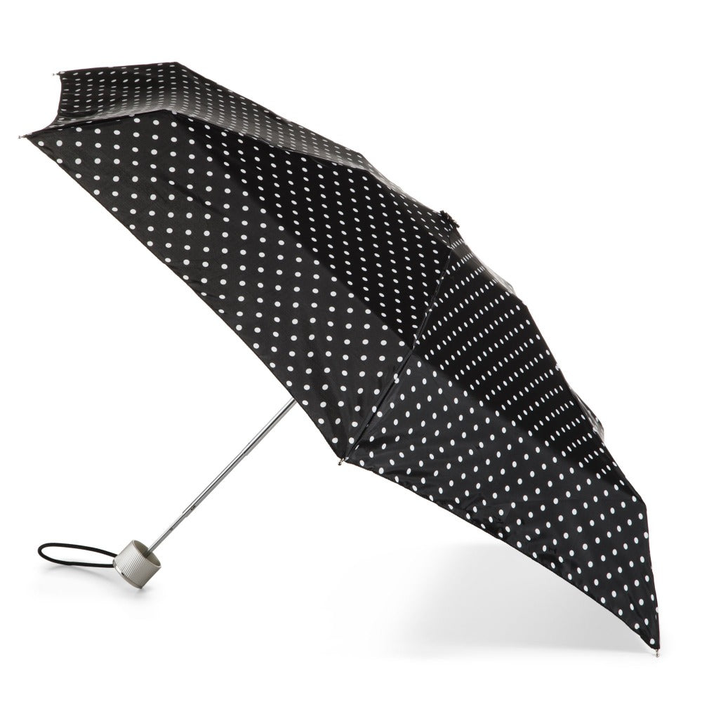 Manual Umbrella with NeverWet® in Black/White Swiss Dot Open Side Profile