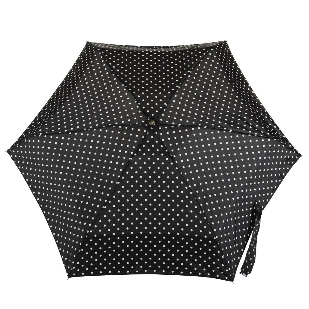 Manual Umbrella with NeverWet® in Black/White Swiss Dot Open Top View