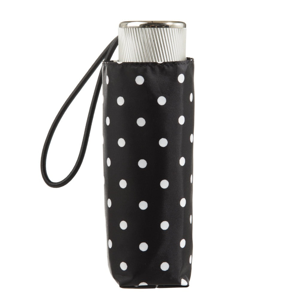 Manual Umbrella with NeverWet® in Black/White Swiss Dot Closed In Carrying Case