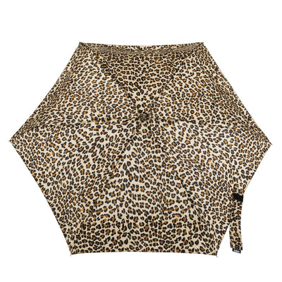 Manual Umbrella with NeverWet® in Leopard Spotted Open Top View