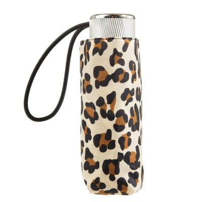 Manual Umbrella with NeverWet® in Leopard Spotted Closed In Carrying Case