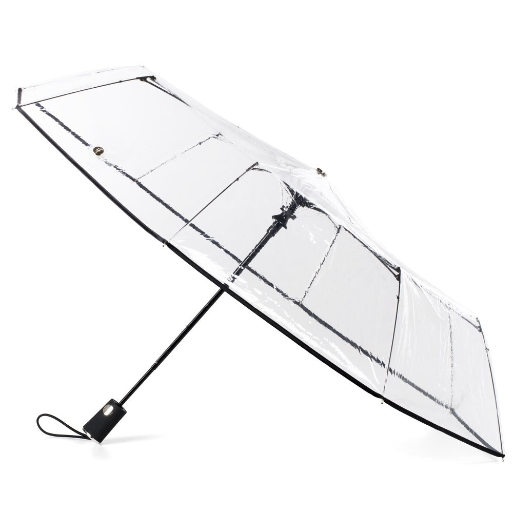 Ultra Clear Auto Open Folding Umbrella in Clear Open Side Profile