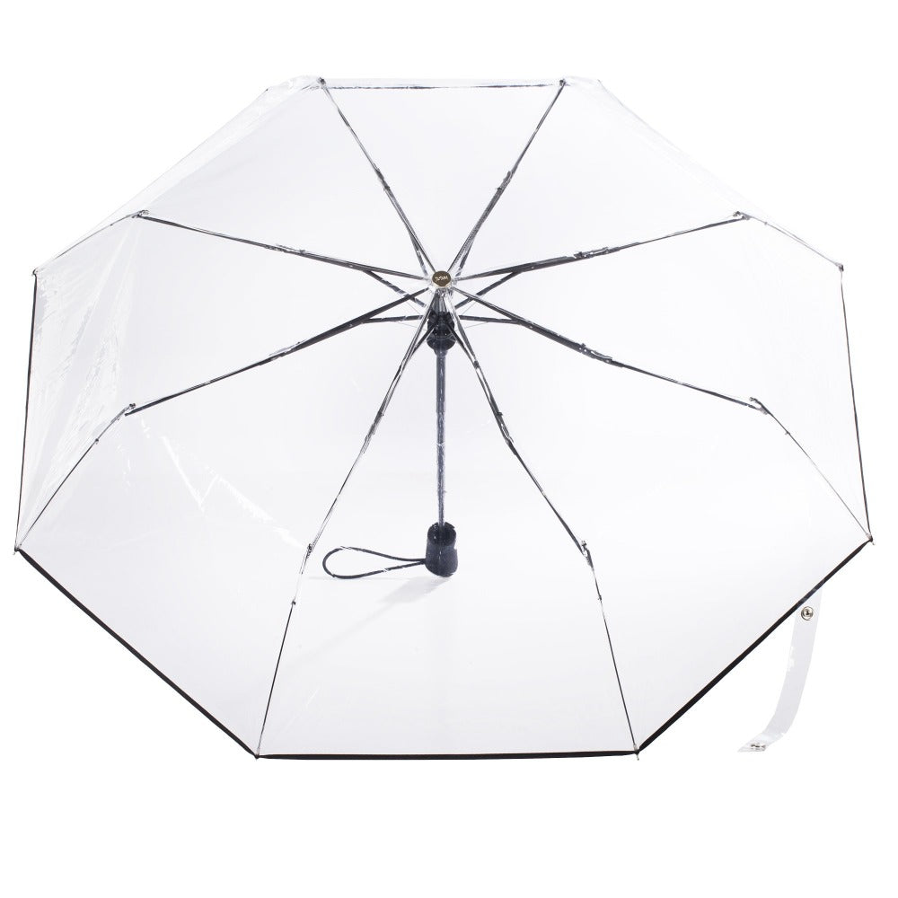 Ultra Clear Auto Open Folding Umbrella in Clear Open Top View
