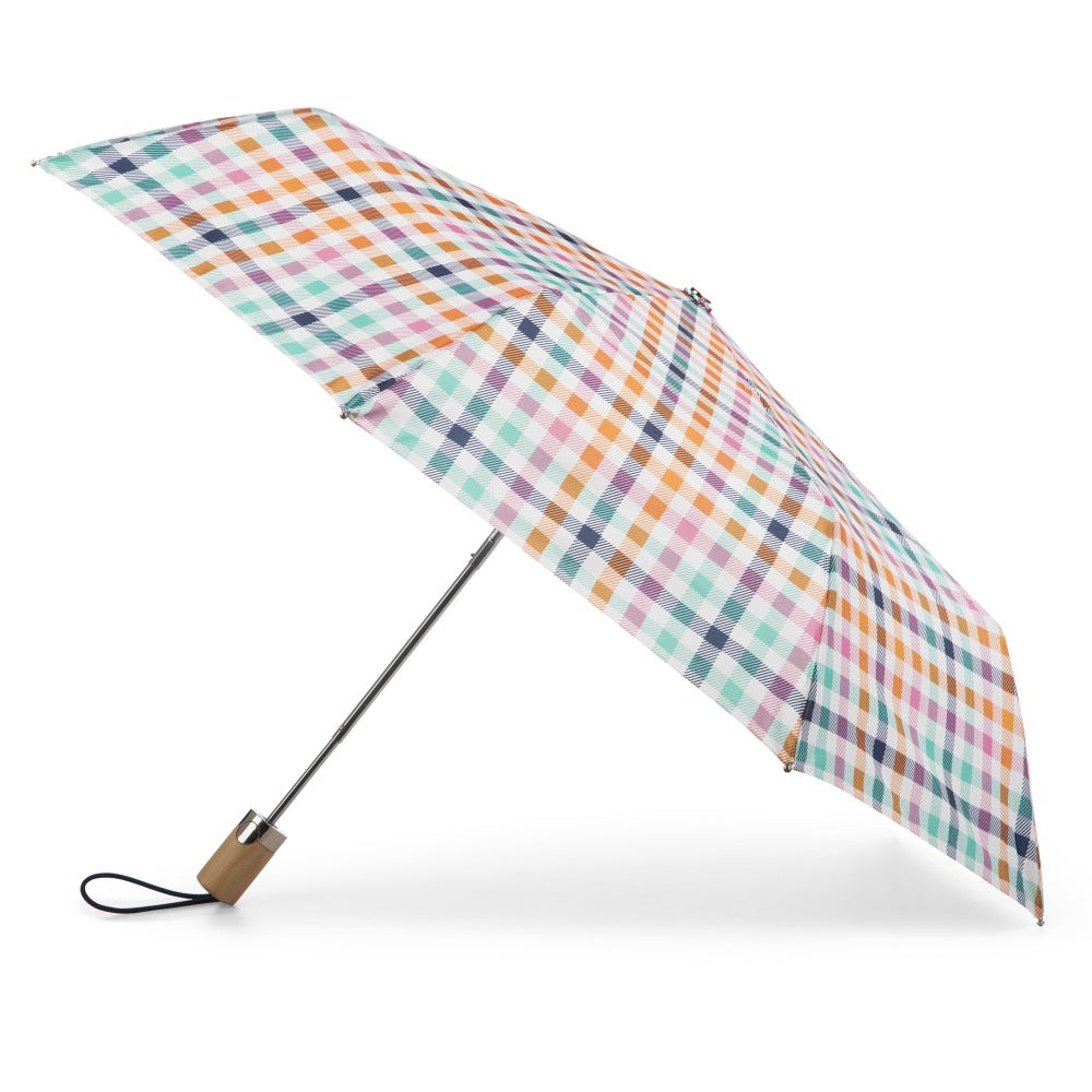 Limited-Edition Auto Open Umbrella in Rainbow Gingham Open Side Profile
