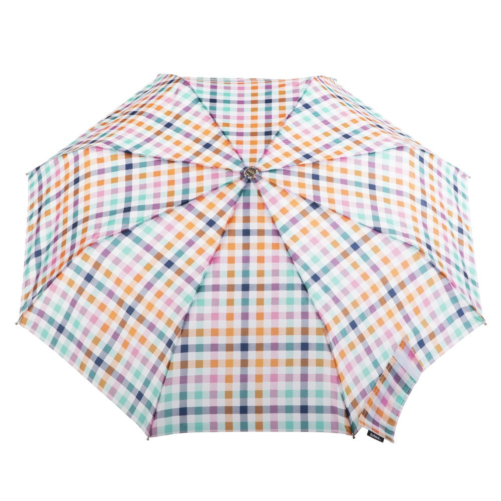 Limited-Edition Auto Open Umbrella in Rainbow Gingham Open Top View