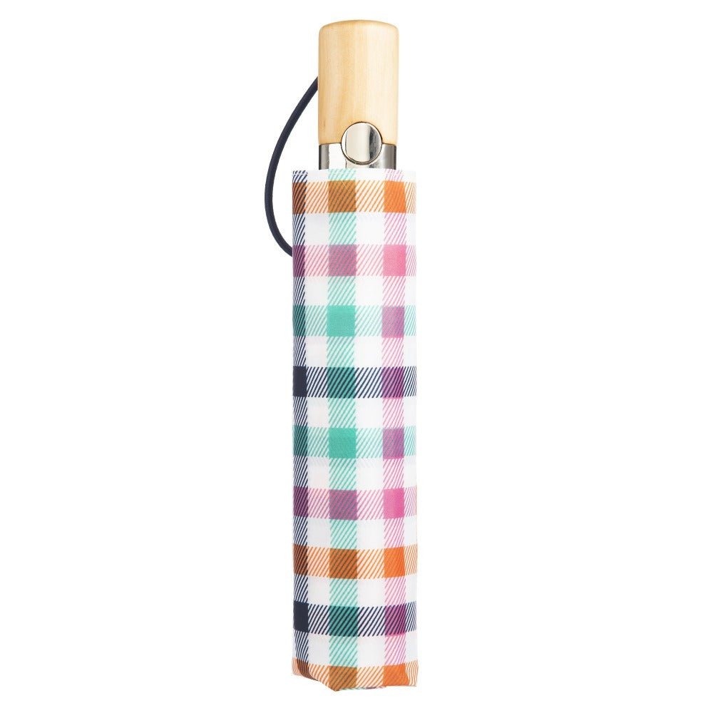 Limited-Edition Auto Open Umbrella in Rainbow Gingham Closed in Carrying Case