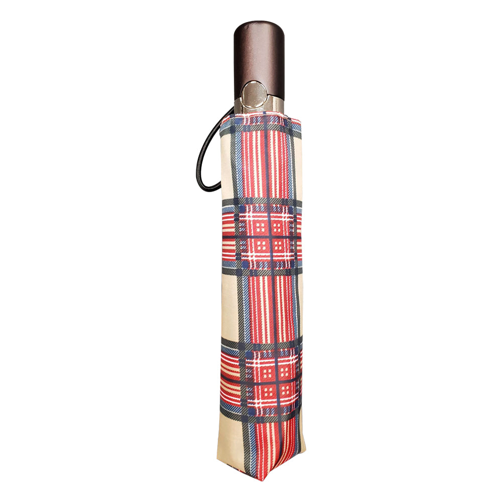Limited-Edition Auto Open Umbrella in Heritage Plaid in case.