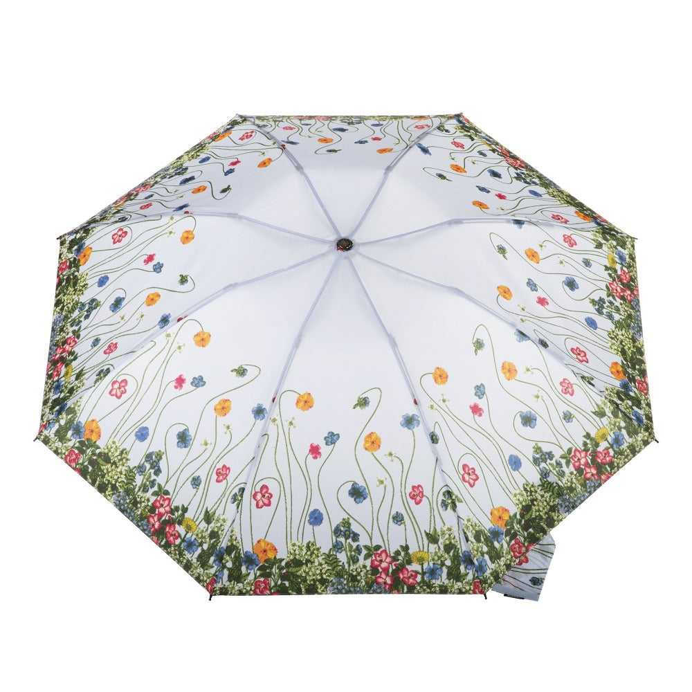 InBrella Reverse Close Folding Umbrella in Flower Garden Open Top View