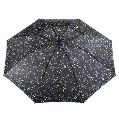 InBrella Reverse Close Folding Umbrella in Zodiac Black Open Top View