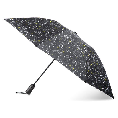 InBrella Reverse Close Folding Umbrella in Zodiac Black Open Side Profile