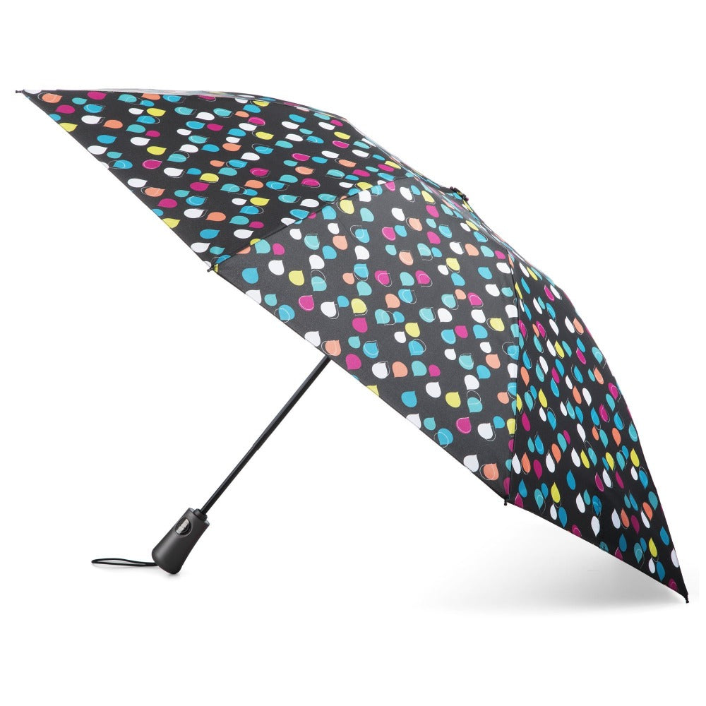 InBrella Reverse Close Folding Umbrella in Large Raindrops Open Side Profile