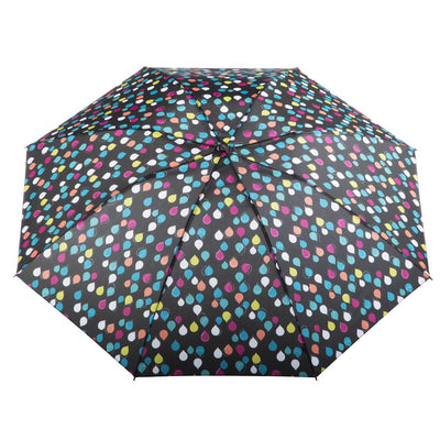 InBrella Reverse Close Folding Umbrella in Large Raindrops Open Top View