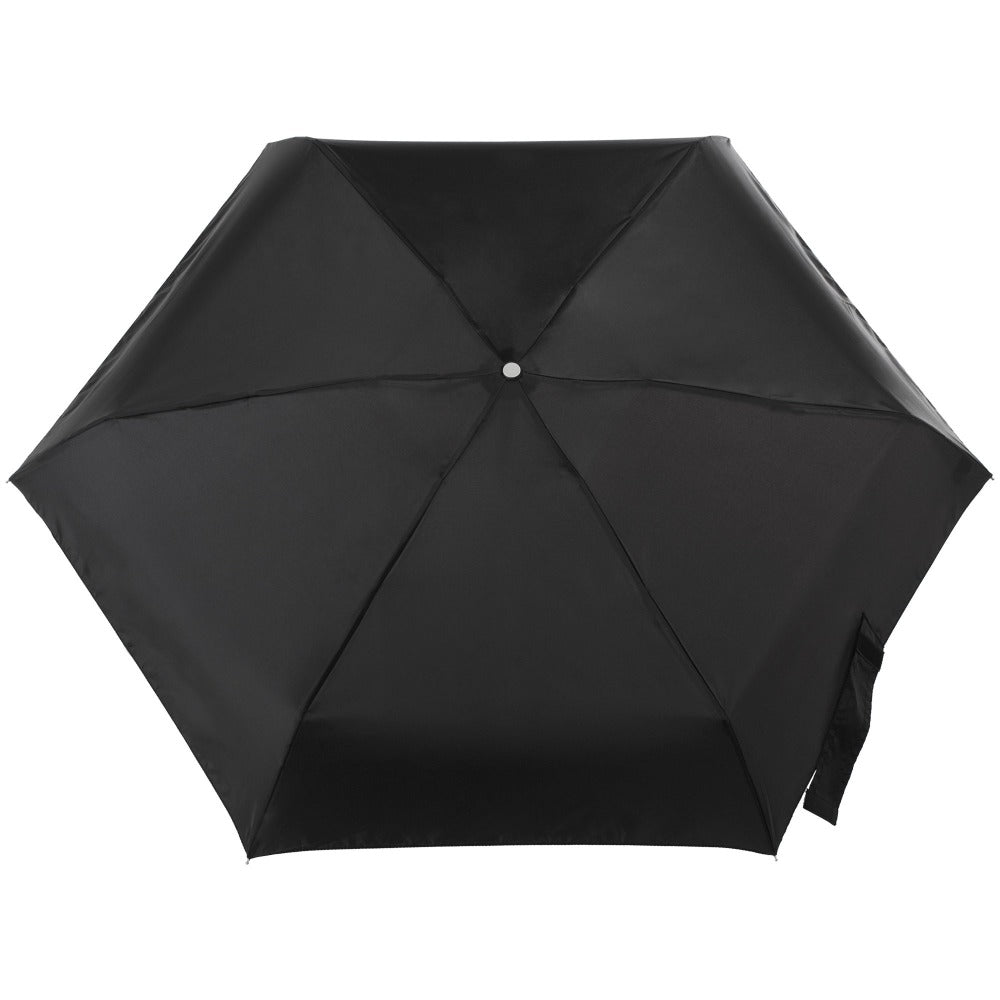 Mini Manual Umbrella With Neverwet in Black Open Top View