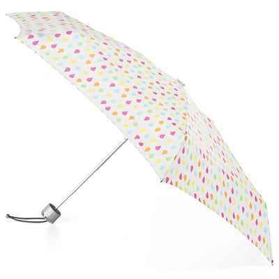 Mini Manual Umbrella With Neverwet in White Rain Open Side Profile