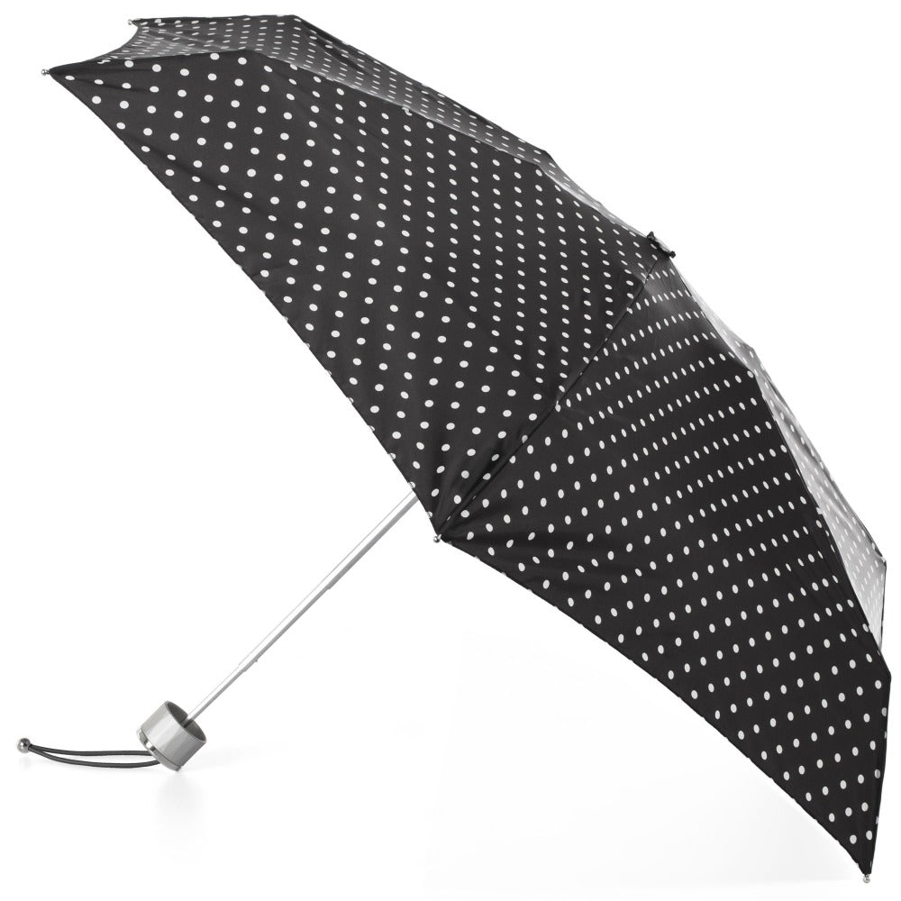 Mini Manual Umbrella With Neverwet in Black/White Swiss Dot Open Side Profile