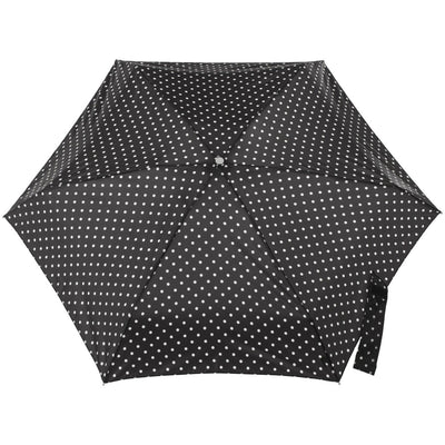 Mini Manual Umbrella With Neverwet in Black/White Swiss Dot Open Top View