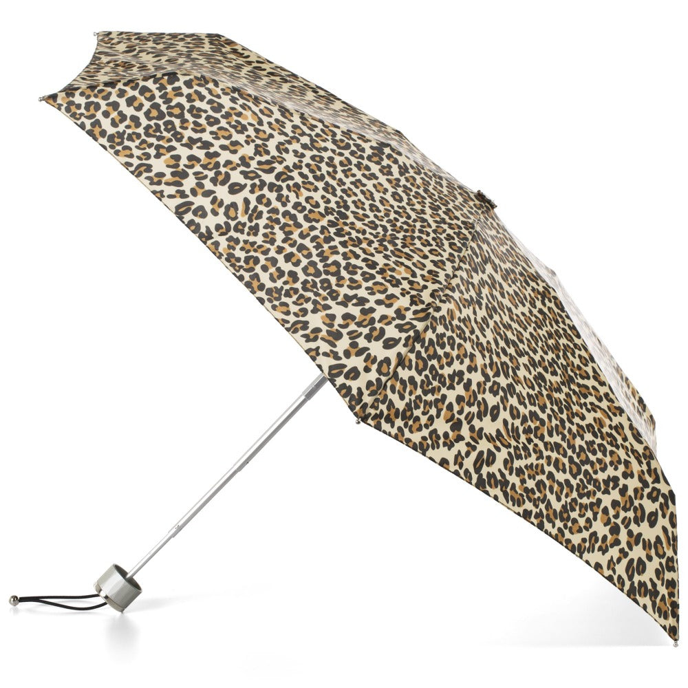 Mini Manual Umbrella With Neverwet in Leopard Spotted Open Side Profile