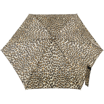 Mini Manual Umbrella With Neverwet in Leopard Spotted Open Top View