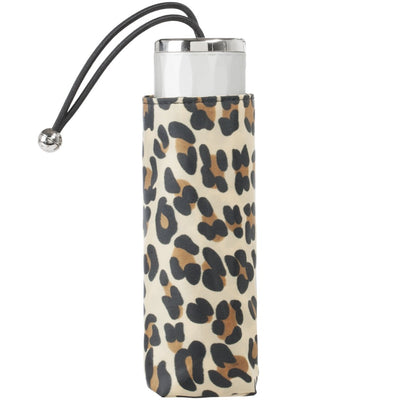 Mini Manual Umbrella With Neverwet in Leopard Spotted Closed in Carrying Case
