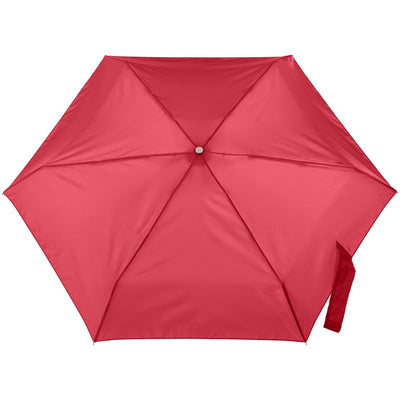 Mini Manual Umbrella With Neverwet in Red Open Top View