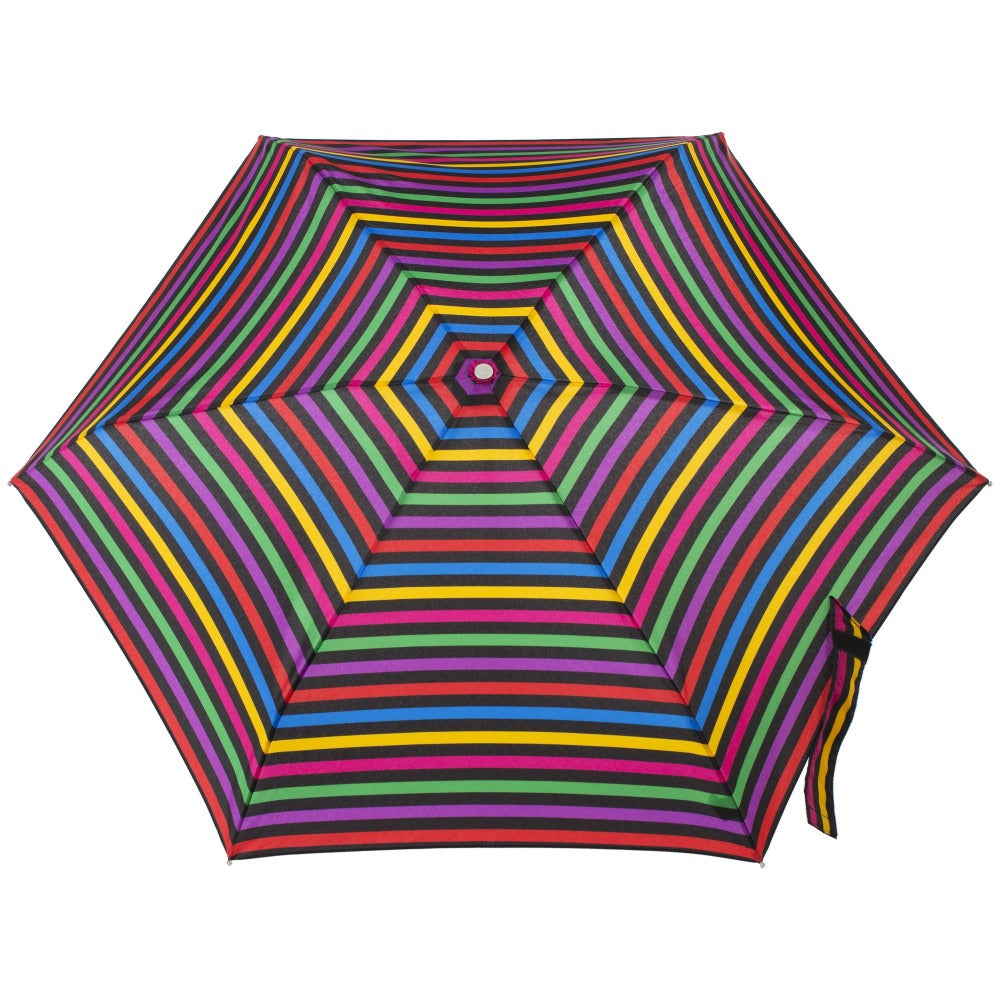Mini Manual Umbrella With Neverwet in Stripe Hue Open Top View