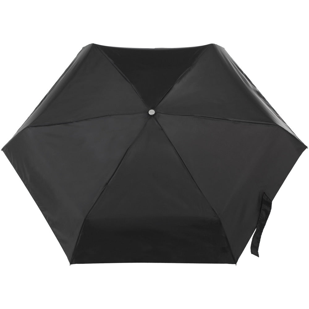 Mini Auto Open Close Neverwet And Sunguard Umbrella in Black Open Top View