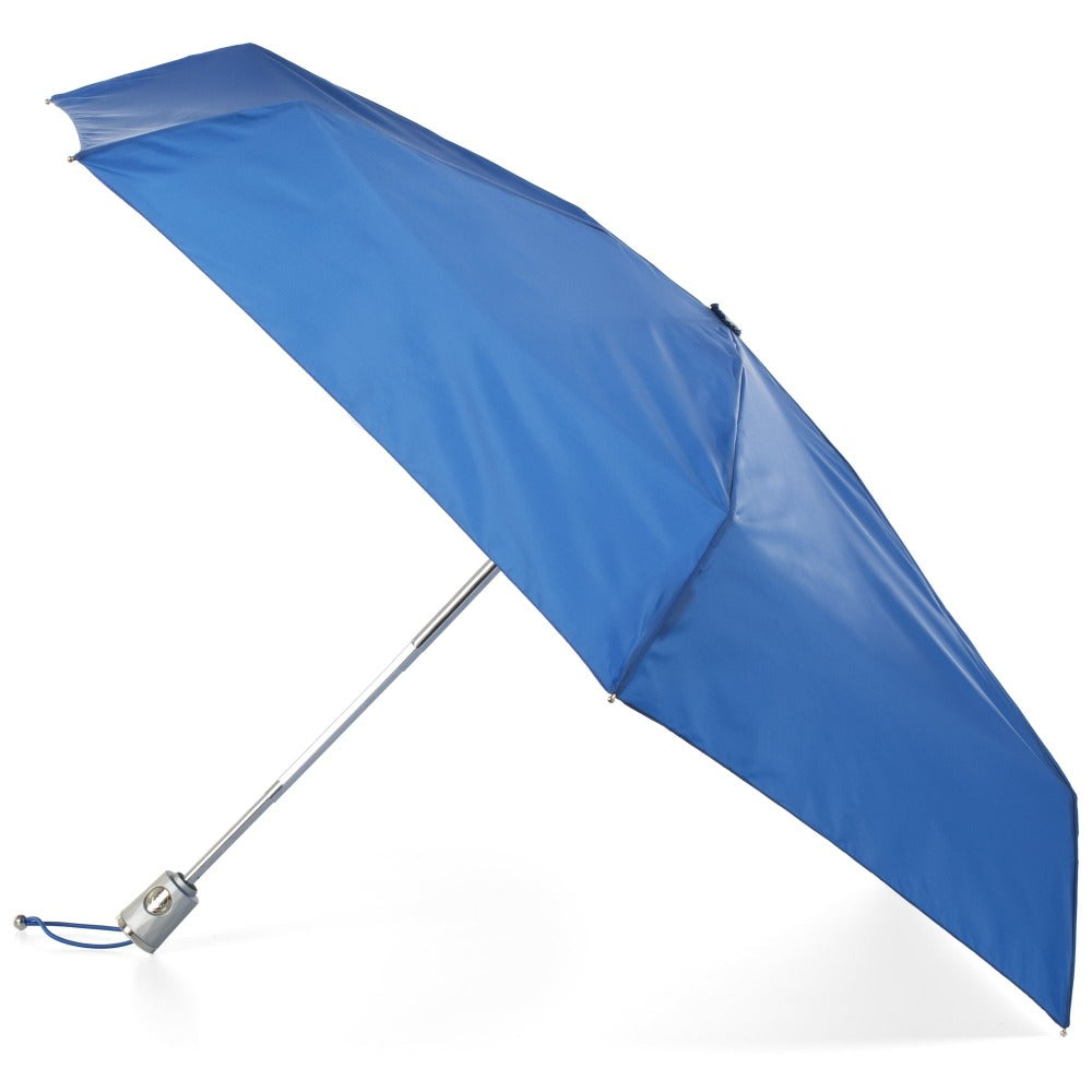 Mini Auto Open Close Neverwet And Sunguard Umbrella in Blue Open Side Profile