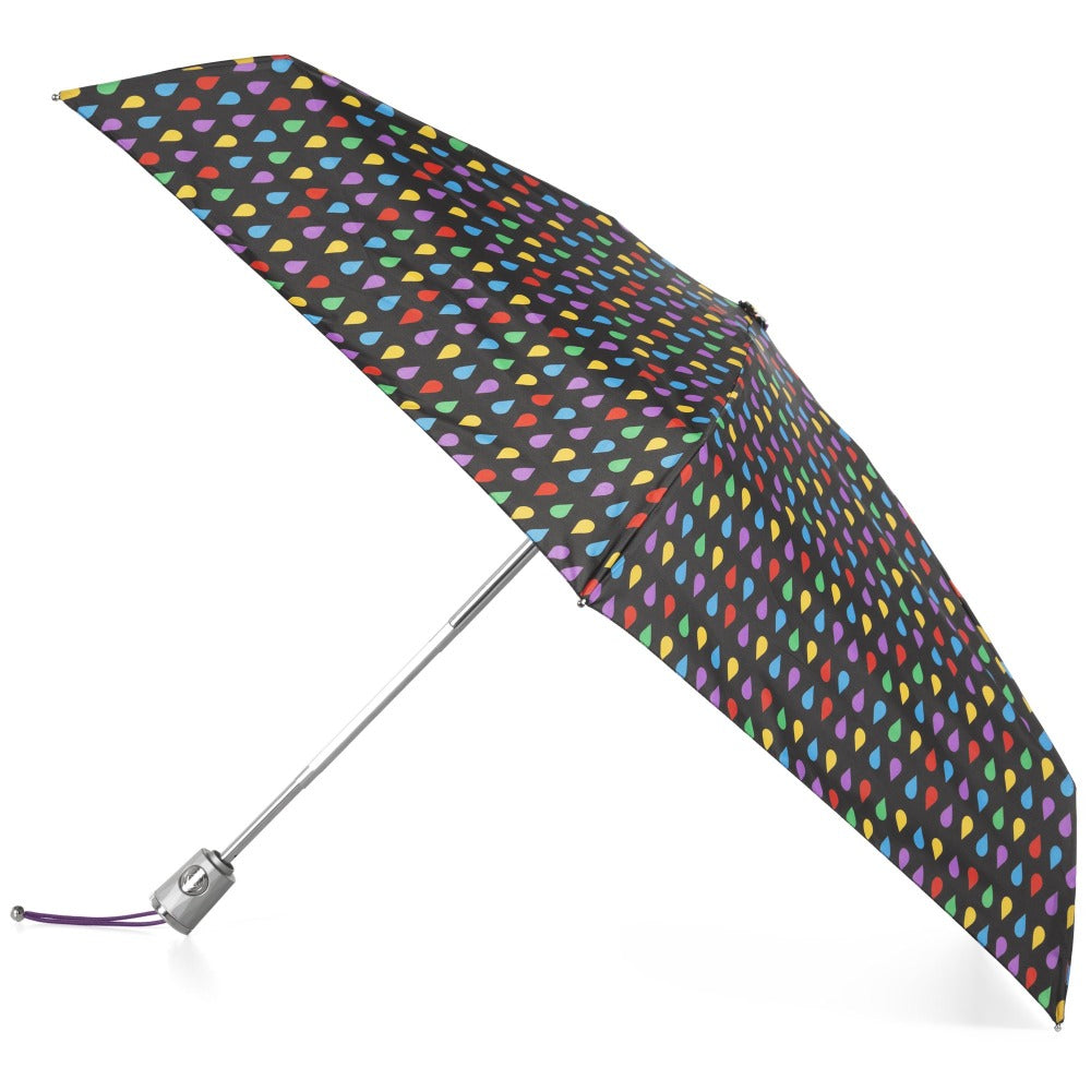 Mini Auto Open Close Neverwet And Sunguard Umbrella in Black Rain Open Side Profile