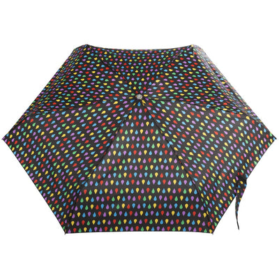 Mini Auto Open Close Neverwet And Sunguard Umbrella in Black Rain Open Top View