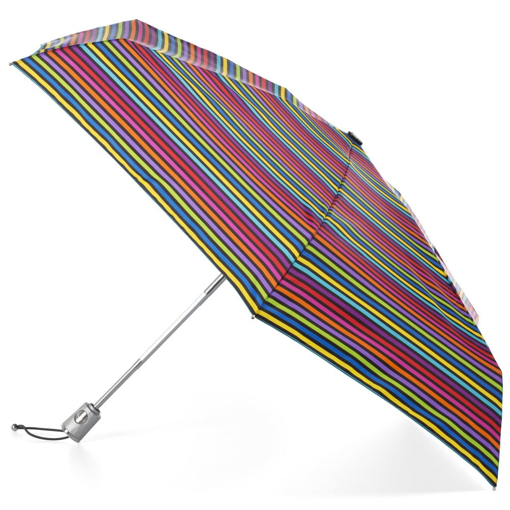 Mini Auto Open Close Neverwet And Sunguard Umbrella in Skinny Stripe Open Side Profile