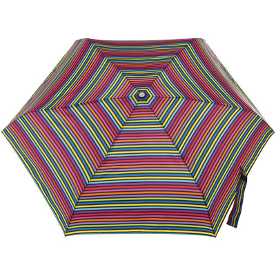 Mini Auto Open Close Neverwet And Sunguard Umbrella in Skinny Stripe Open Top View