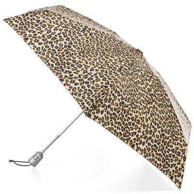 Mini Auto Open Close Neverwet And Sunguard Umbrella in Leopard Spotted Open Side Profile