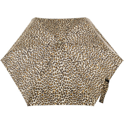 Mini Auto Open Close Neverwet And Sunguard Umbrella in Leopard Spotted Open Top View