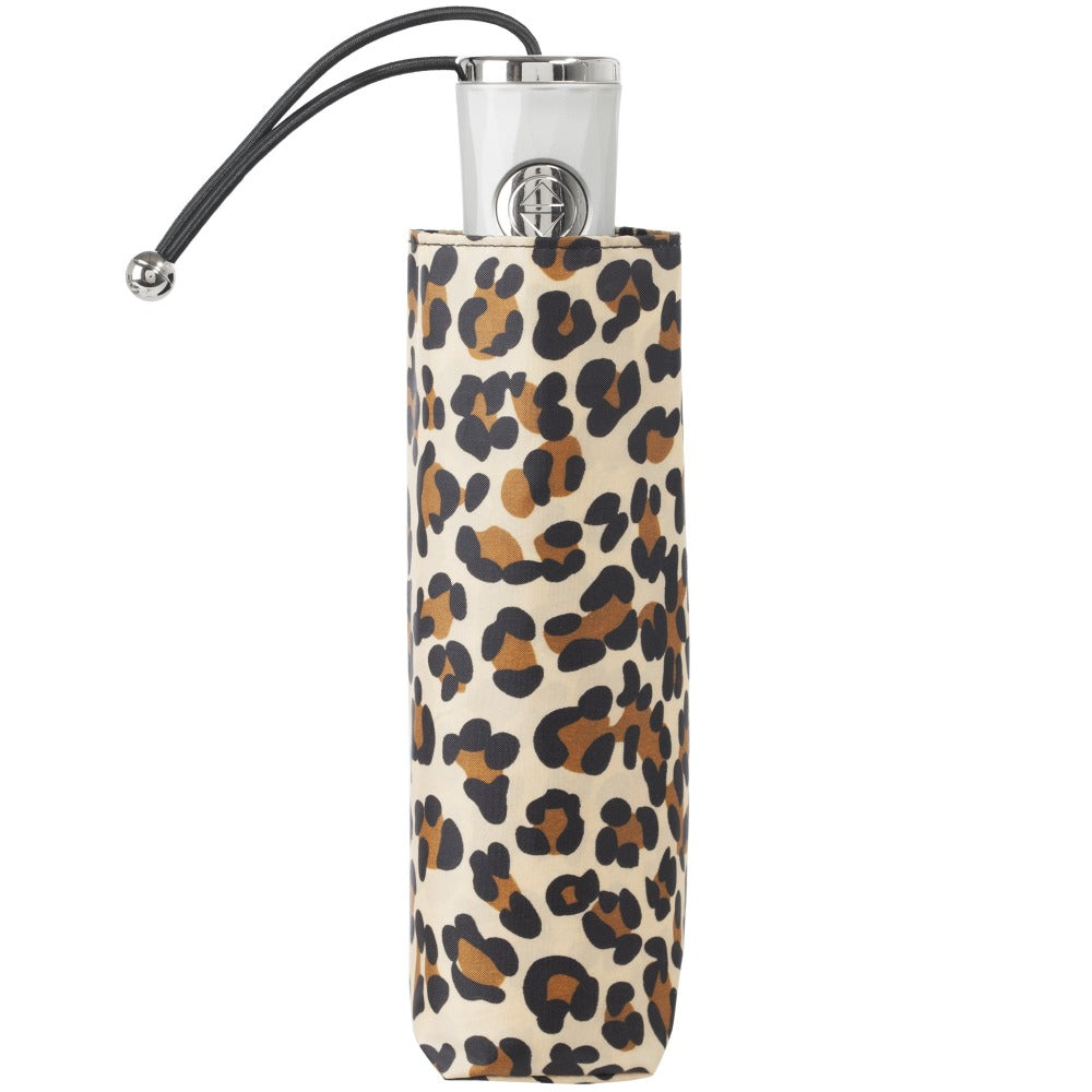 Mini Auto Open Close Neverwet And Sunguard Umbrella in Leopard Spotted Closed in Carrying Case