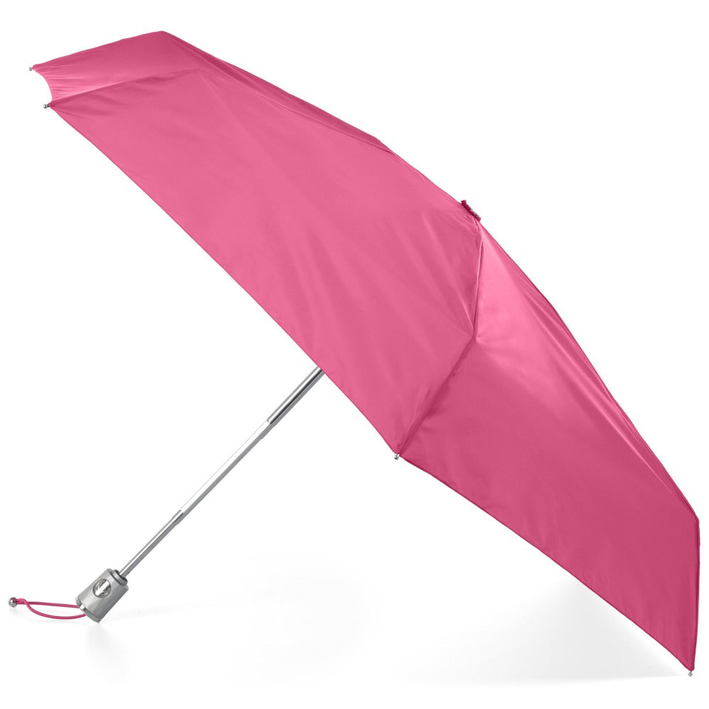 Mini Auto Open Close Neverwet And Sunguard Umbrella in Magenta Open Side Profile