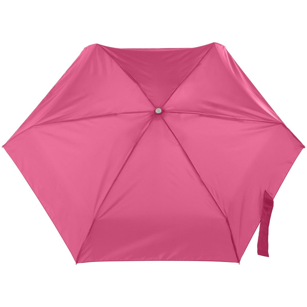 Mini Auto Open Close Neverwet And Sunguard Umbrella in Magenta Open Top View